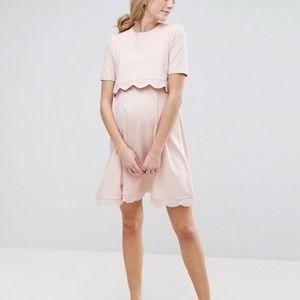 ASOS Maternity NURSING Scallop Dress with Short Sl